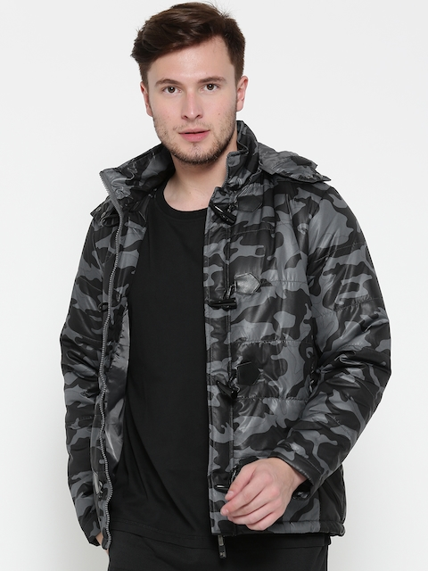 Peter England Casuals Men Grey Camouflage Print Quilted Jacket with Detachable Hood