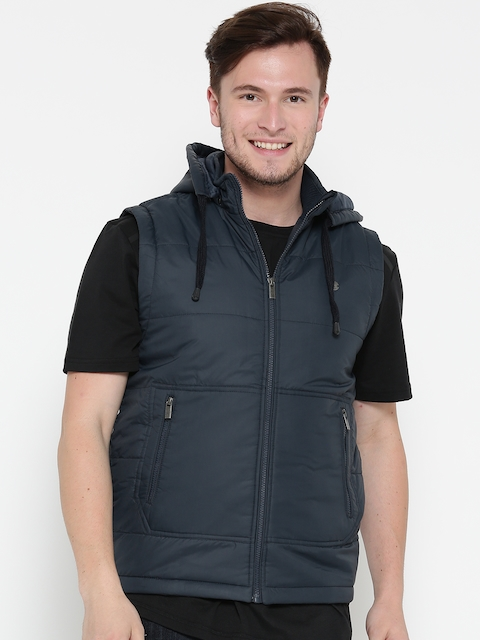 Peter England Casuals Men Navy Solid Sleeveless Jacket with Detachable Hood
