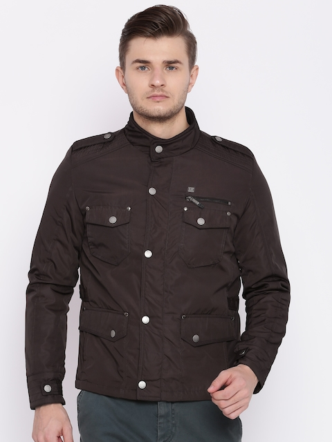Peter England Casuals Men Brown Solid Padded Jacket