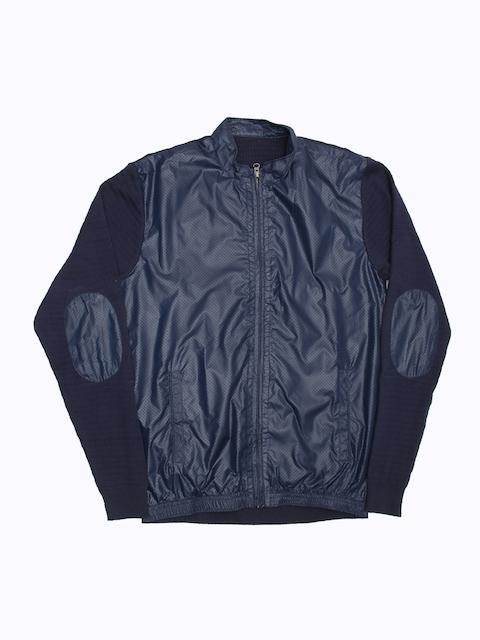 Peter England Casuals Men Blue Solid Open Front Jacket