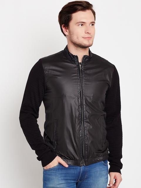 Peter England Casuals Men Black Solid Open Front Jacket