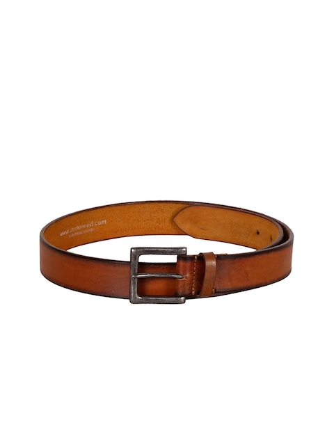 Justanned Men Tan Brown Solid Leather Belt