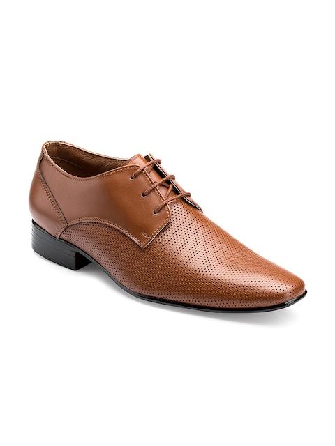 Escaro Men Tan Brown Leather Formal Shoes