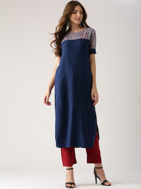 Libas Women Blue Solid Straight Kurta  available at myntra for Rs.299