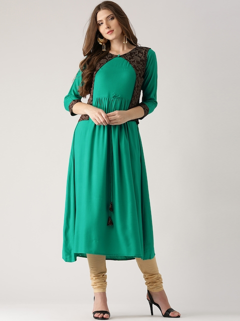 Libas Women Green Solid A-Line Kurta with Ethnic Jacket  available at myntra for Rs.379