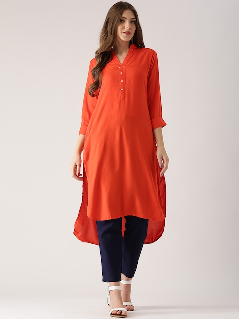 Libas Women Orange Solid Straight Kurta  available at myntra for Rs.399