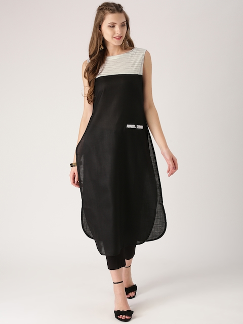 Libas Women Black Solid Straight Kurta  available at myntra for Rs.299