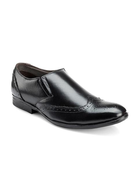 Escaro Men Black Leather Semiformal Slip-On Brogues