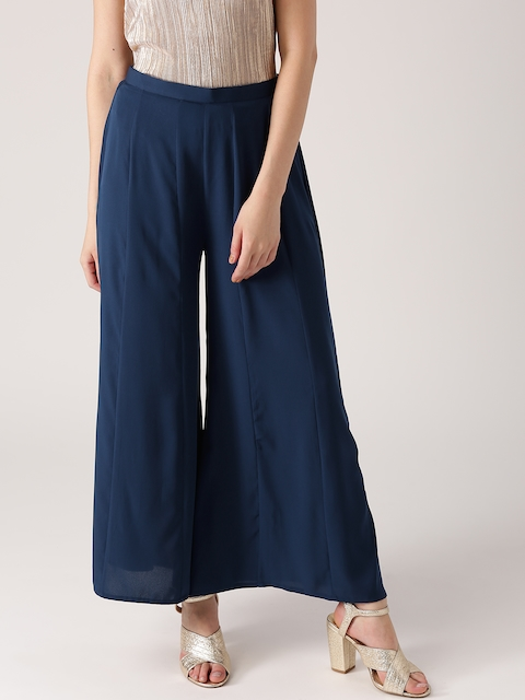 Libas Women Navy Flared Solid Palazzos