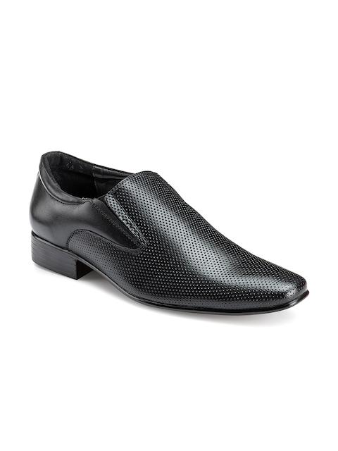 Escaro Men Black Leather Semiformal Slip-On Shoes