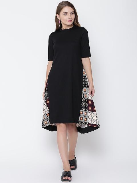 AND Women Black & Purple Printed A-Line Dress