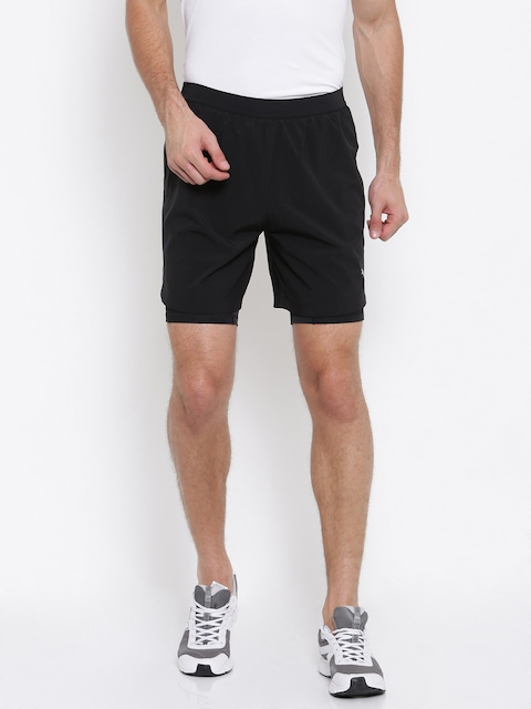 Puma Men Black Solid Regular Fit Pace 2in1 7 Sports Shorts