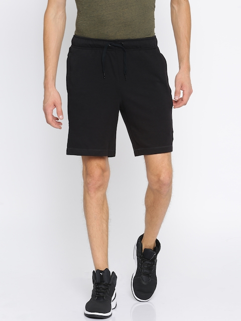 Puma Men Black Slim Fit Zipperd Terry Sports Shorts
