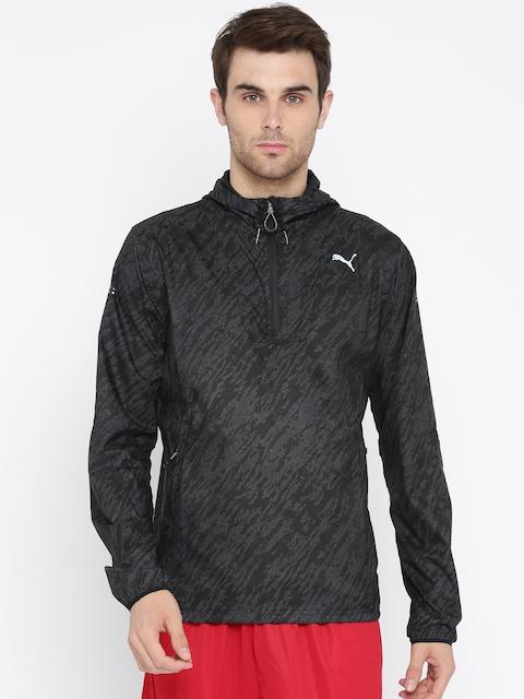 Puma Men Black & Charcoal Grey Printed Energy Hooded Sweatshirt