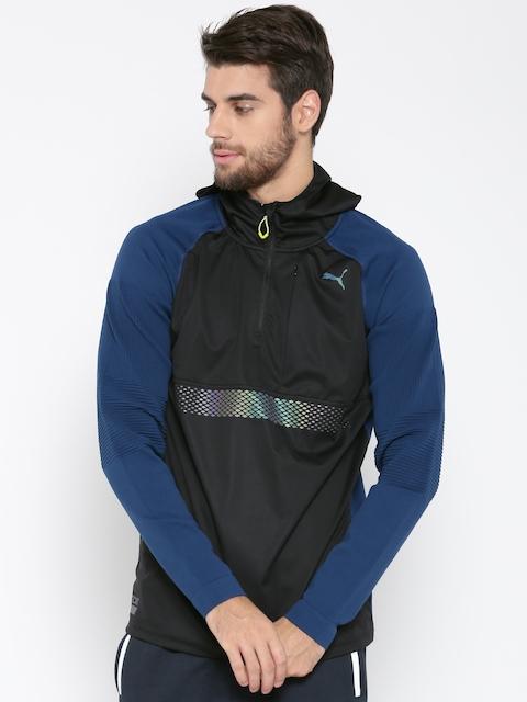 Puma Men Black & Blue NightCat Evoknit Protect Solid Hooded Sweatshirt