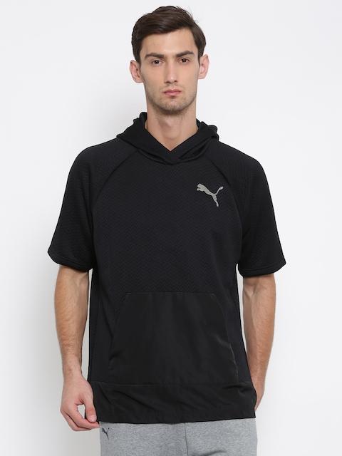 Puma Men Black Self Design Hooded Sweatshirt