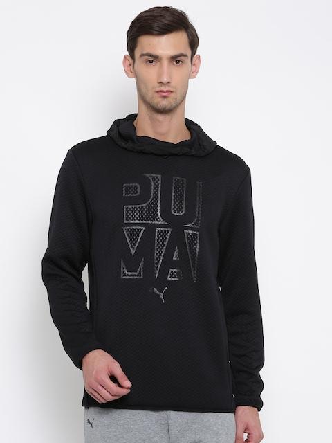 Puma Men Black Printed Hooded Sweatshirt
