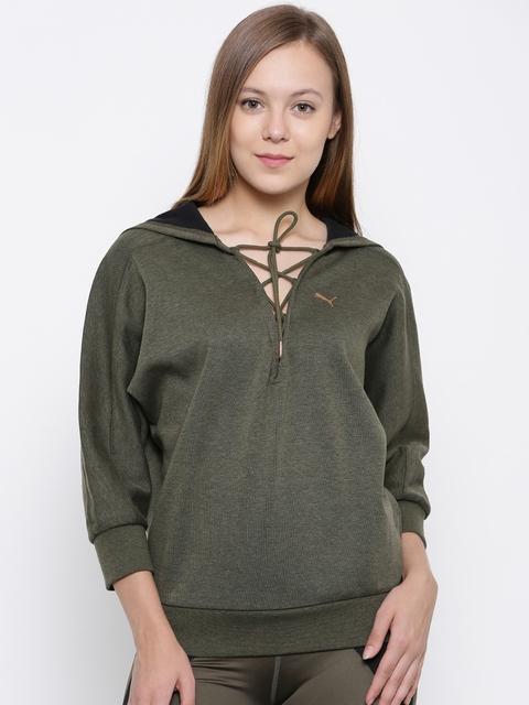 Puma Women Olive Green Solid Hooded Yogini Cropped Sweatshirt