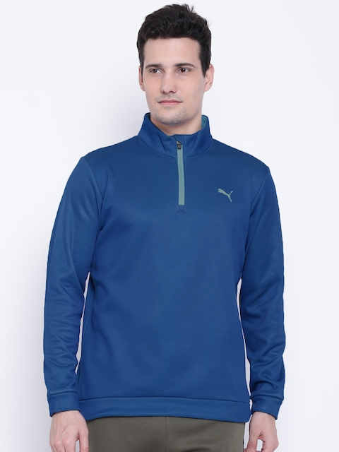 Puma Men Blue Disruptive 1/4 Zip Solid Sweatshirt