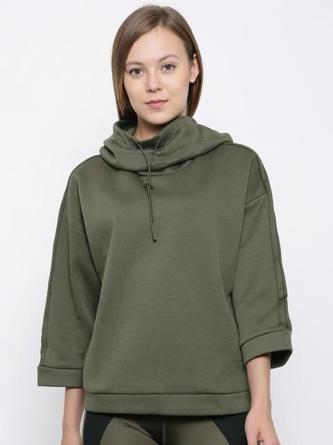 Puma Women Olive Green & Black Colourblocked Hooded Sweatshirt