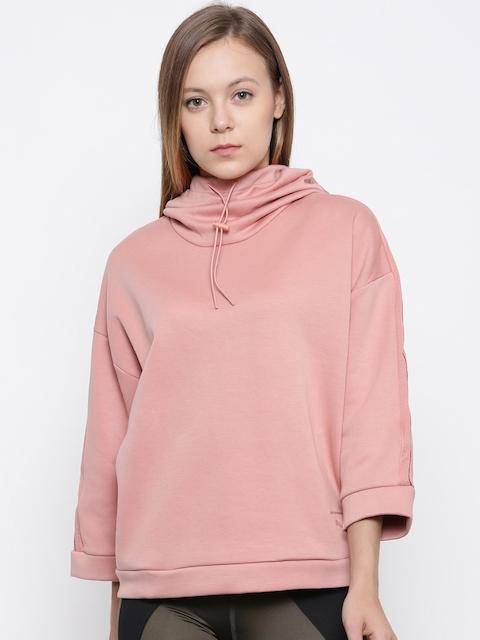 Puma Women Peach-Coloured Solid Hooded Sweatshirt