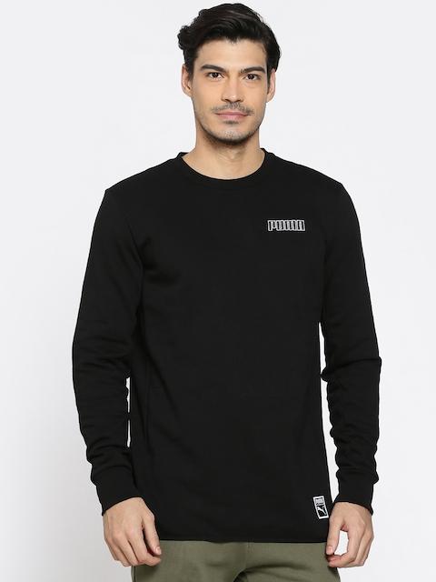 Puma Men Black Solid Record Crew Sweatshirt