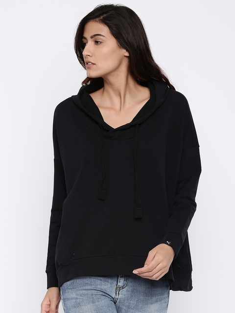 Puma Women Black Solid Sweatshirt
