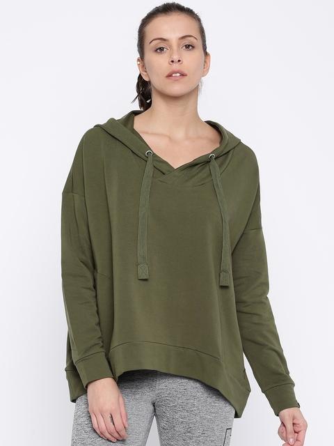 Puma Women Olive Green Solid Hooded FUSION Sweatshirt