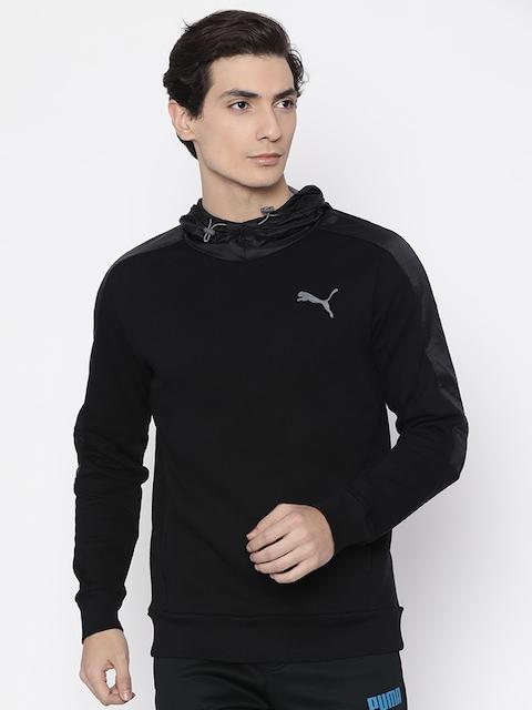 Puma Men Black Solid Active Hero Shield FL Hooded Sweatshirt