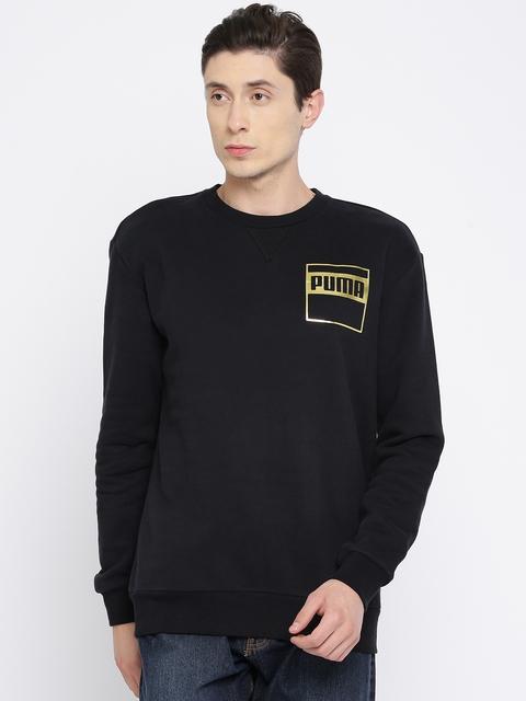 Puma Men Black Solid Rebel Gold Crew FL Sweatshirt