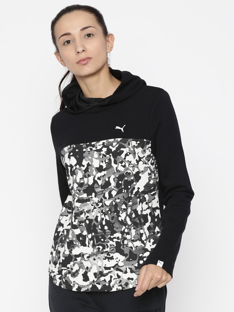 Puma Women Black & White Printed Hooded Sweatshirt