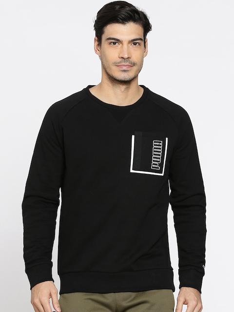 Puma Men Black Slim Fit Solid STYLE Pocket Crew Sweatshirt