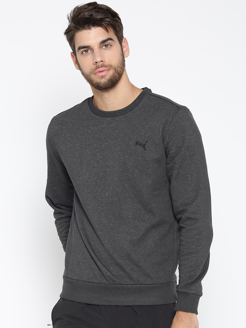 Puma Men Charcoal Grey ESS Crew Solid Sweatshirt