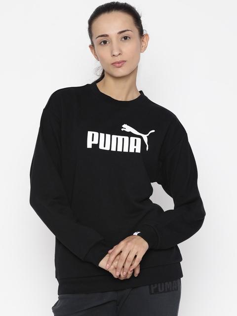 Puma Women Black Printed ESS No.1 Crew TR W Sweatshirt