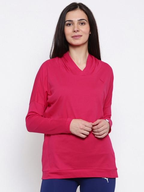 Puma Women Pink ESS Hooded Solid Hooded Sweatshirt