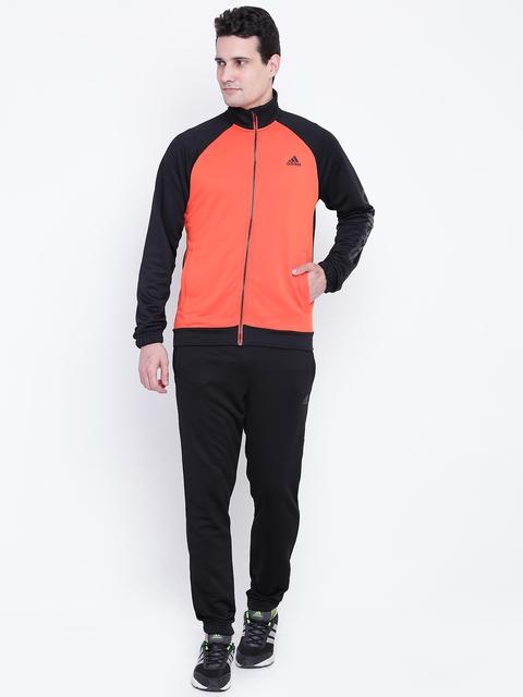 Adidas Black & Coral Orange Marker Tracksuit