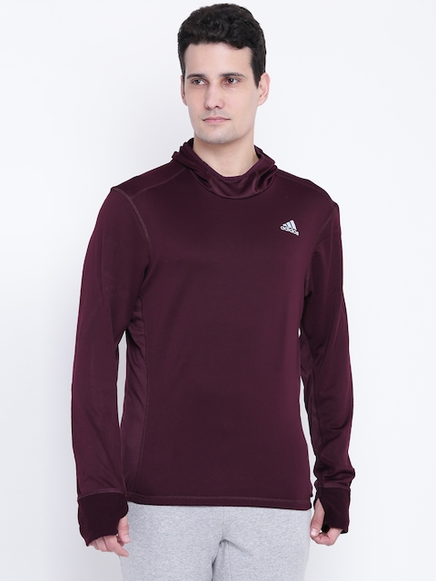 Adidas Men Burgundy RS CLIMA Solid Hooded Sweatshirt