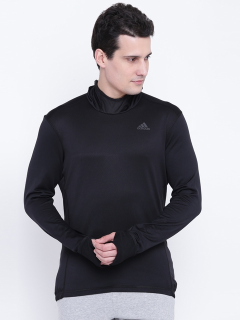 Adidas Men Black Solid RS CLIMA Hooded Sweatshirt