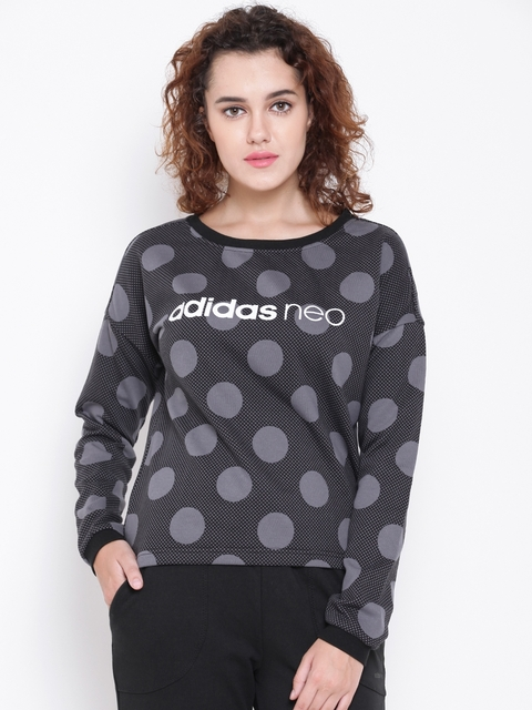 Adidas NEO Women Grey & Black FV AOP Printed Sweatshirt