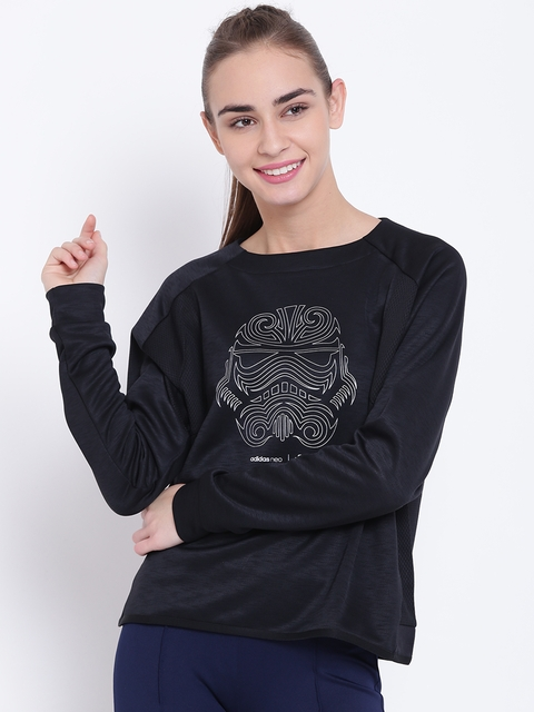 Adidas NEO Women Black SW Printed Sweatshirt