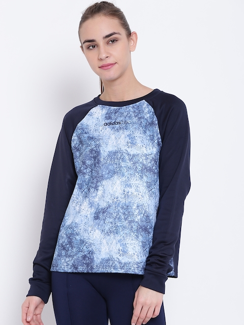 Adidas NEO Women Blue STD AOP Printed Sweatshirt