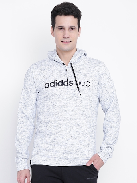 Adidas NEO Men Grey Melange CE ML Printed Hooded Sweatshirt