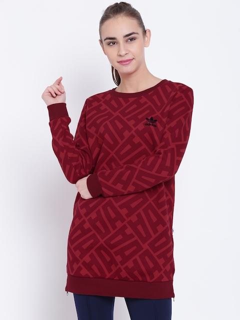 Adidas Originals Women Red EL Printed Longline Sweatshirt