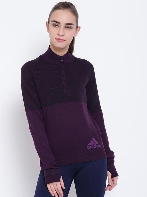 Adidas Women Purple CLMHT PK Zip Self-Striped Sweatshirt