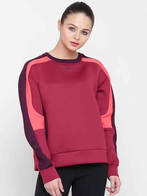 Adidas NEO Women Maroon Solid Sweatshirt