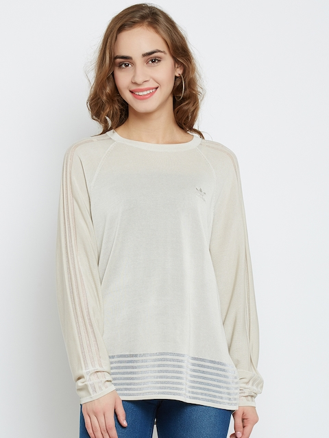 Adidas Originals Women Beige Solid Sweatshirt