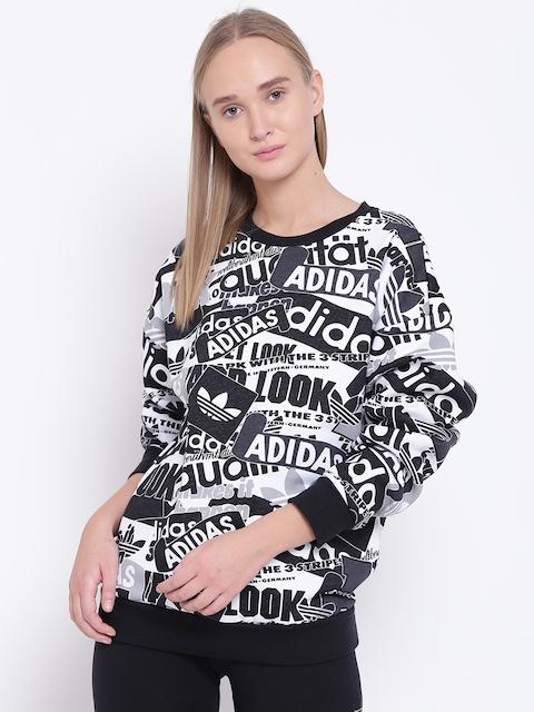 Adidas Originals Women Black & White Printed Sweatshirt