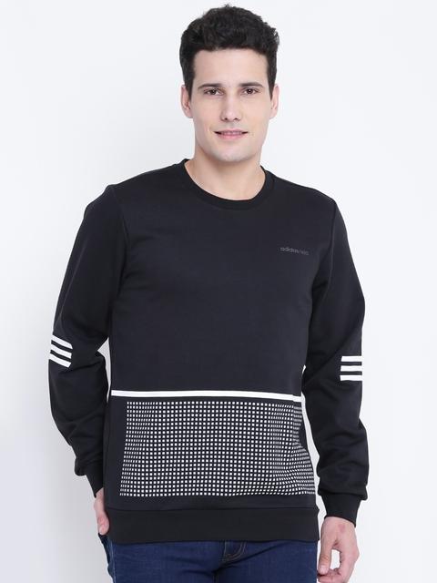 Adidas NEO Men Black & White RFLCT GR Printed Sweatshirt