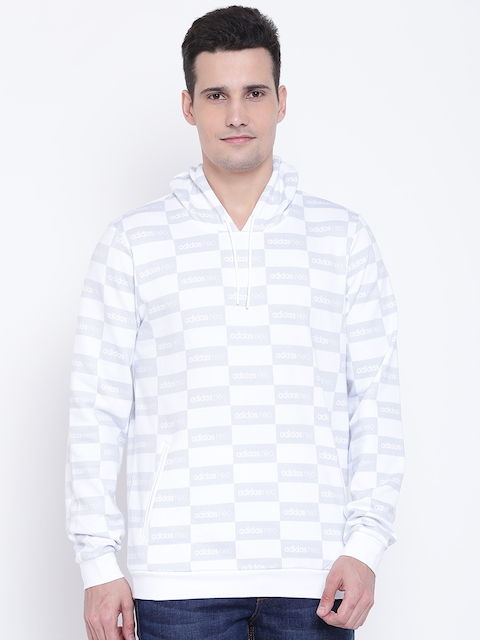 ADIDAS NEO Men White & Grey Checked Hooded Sweatshirt