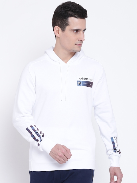 Adidas NEO Men White CS CLR SFT Solid Hooded Sweatshirt